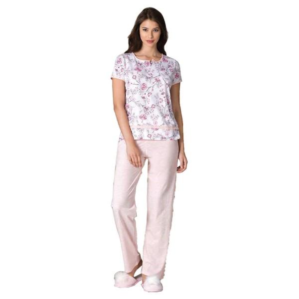 Damen Schlafanzug Pyjama Nachtwäsche Zweiteiliger Lange Hose Sommer-Set 66724