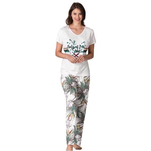 Damen Schlafanzug Pyjama Nachtwäsche Zweiteiliger Lange Hose Sommer-Set 66708