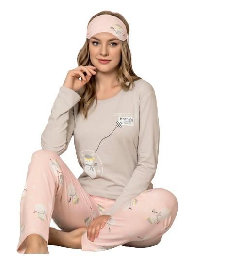 Damen Pyjama-Set Nachtwäsche Zweiteiliger Schlafanzug aus Baumwolle 4060