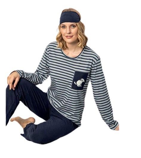 Damen Pyjama-Set Nachtwäsche Zweiteiliger Schlafanzug aus Baumwolle 4080