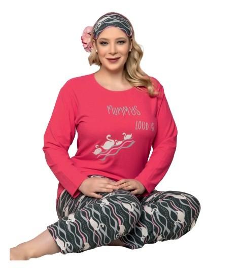 Damen Pyjama-Set Schlafanzüge Übergröße Große Größen aus Baumwolle 4310