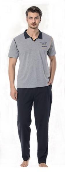 Herren Pyjama Schlafanzug,Nachtwäsche 2-Teiler Hose und Polo Shirt 20362