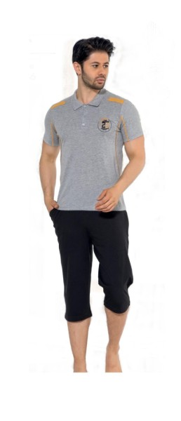 Herren Pyjama Schlafanzug,Nachtwäsche 2-Teiler Capri Kurze Hose-polo Shirt 19186