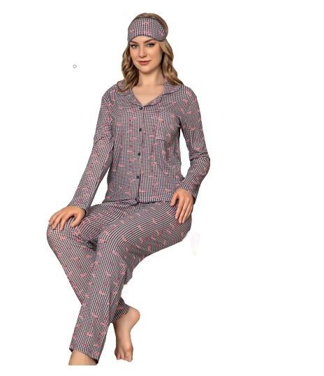 Damen Pyjama-Set Nachtwäsche Zweiteiliger Schlafanzug aus Baumwolle 4420